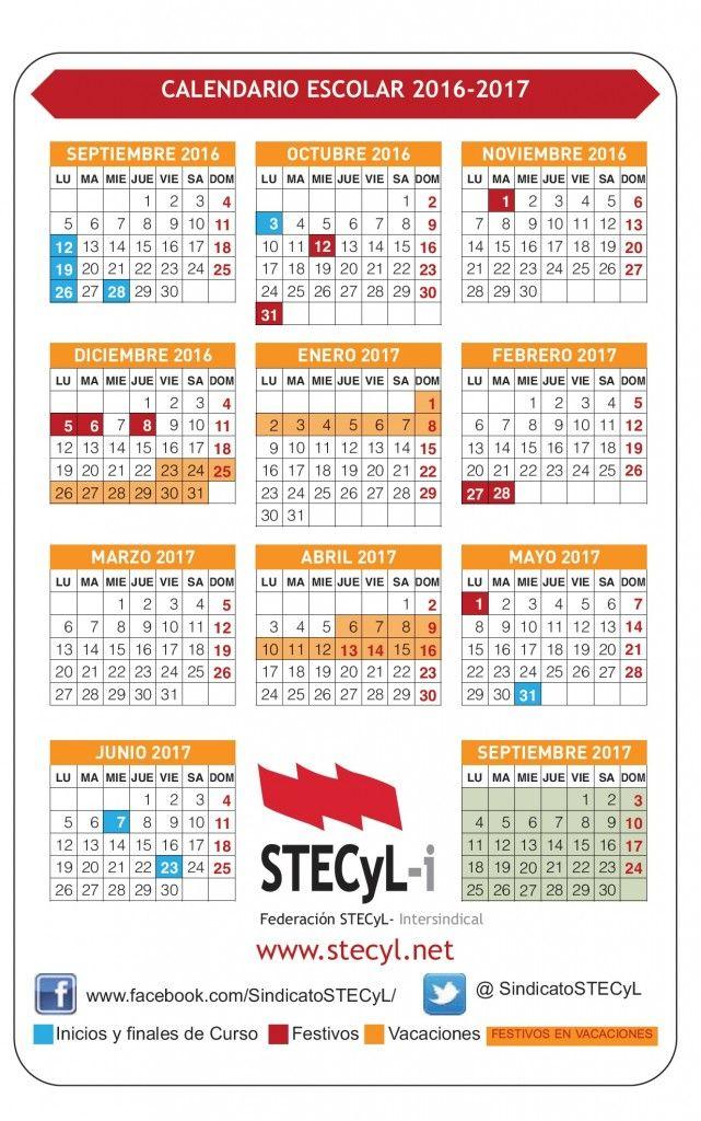 Calendario Escolar 2016-17, enseñanzas no universitarias CyL ...