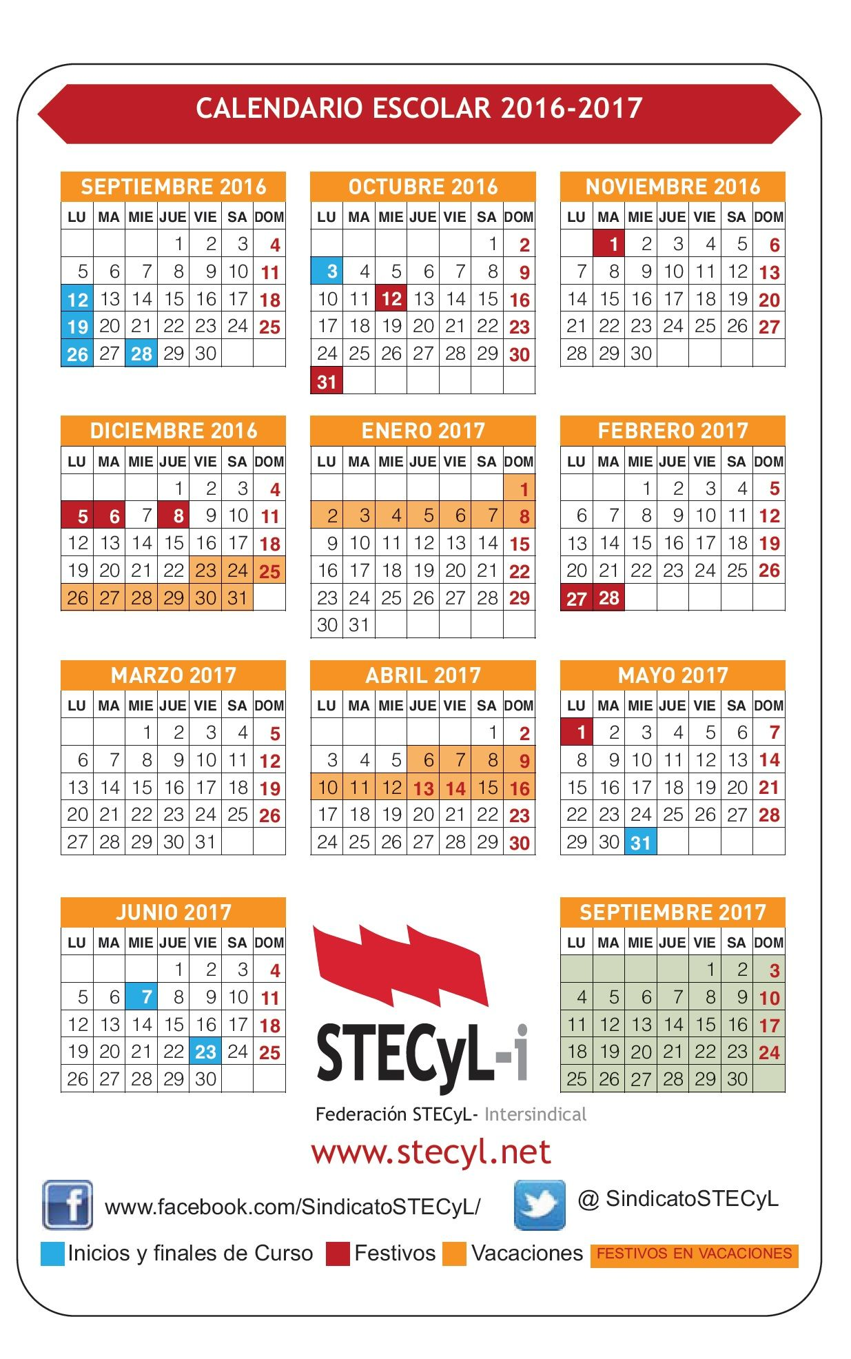 Calendario Escolar Castilla Leon.Calendario Escolar 2016 17 Ensenanzas No Universitarias Cyl Stecyl I