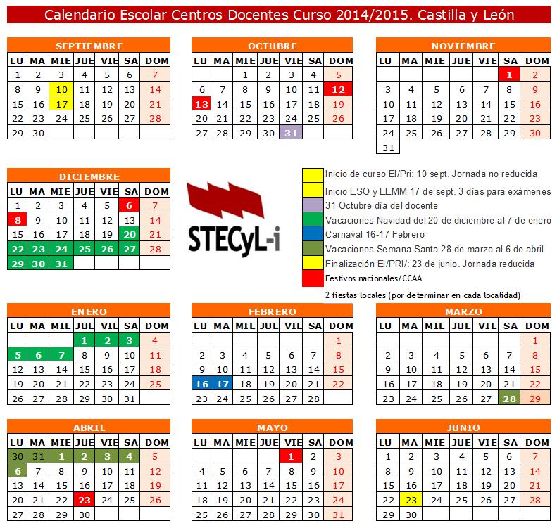 Calendario Escolar 18 19 Cantabria.Calendario Escolar Curso 2014 2015 Stecyl I