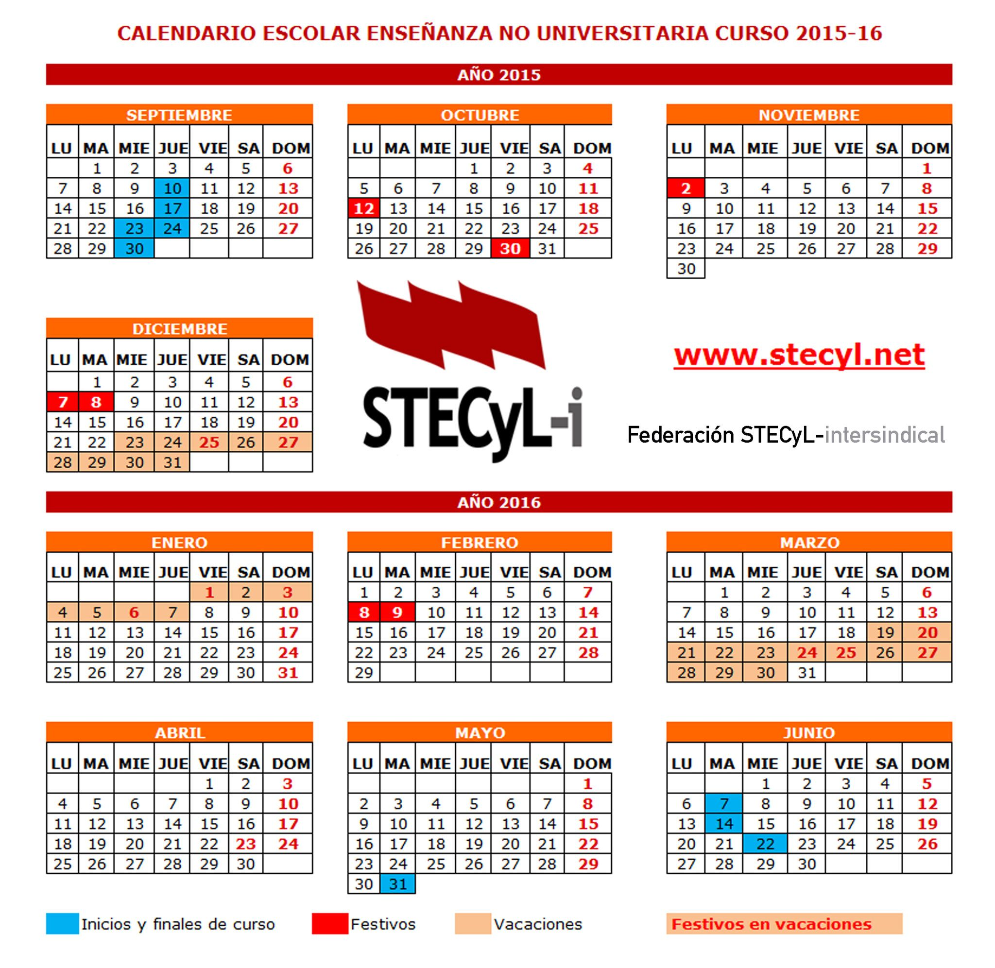 Calendario Escolar Extremadura.Calendario Escolar 2015 16 Ensenanzas No Universitarias Cyl Stecyl I