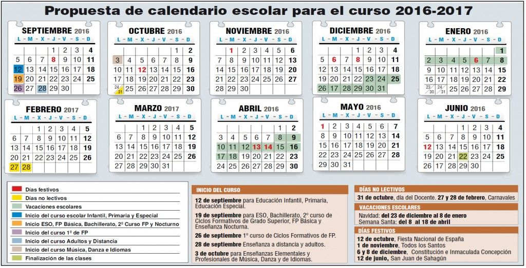 Calendario Academico Madrid.Borrador Calendario Escolar 2016 2017 Stecyl I