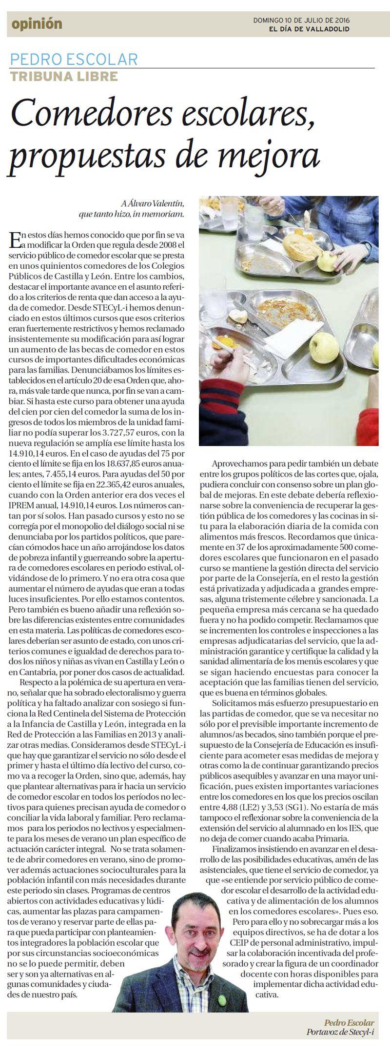 Comedores escolares, propuestas de mejora - Stecyl-i