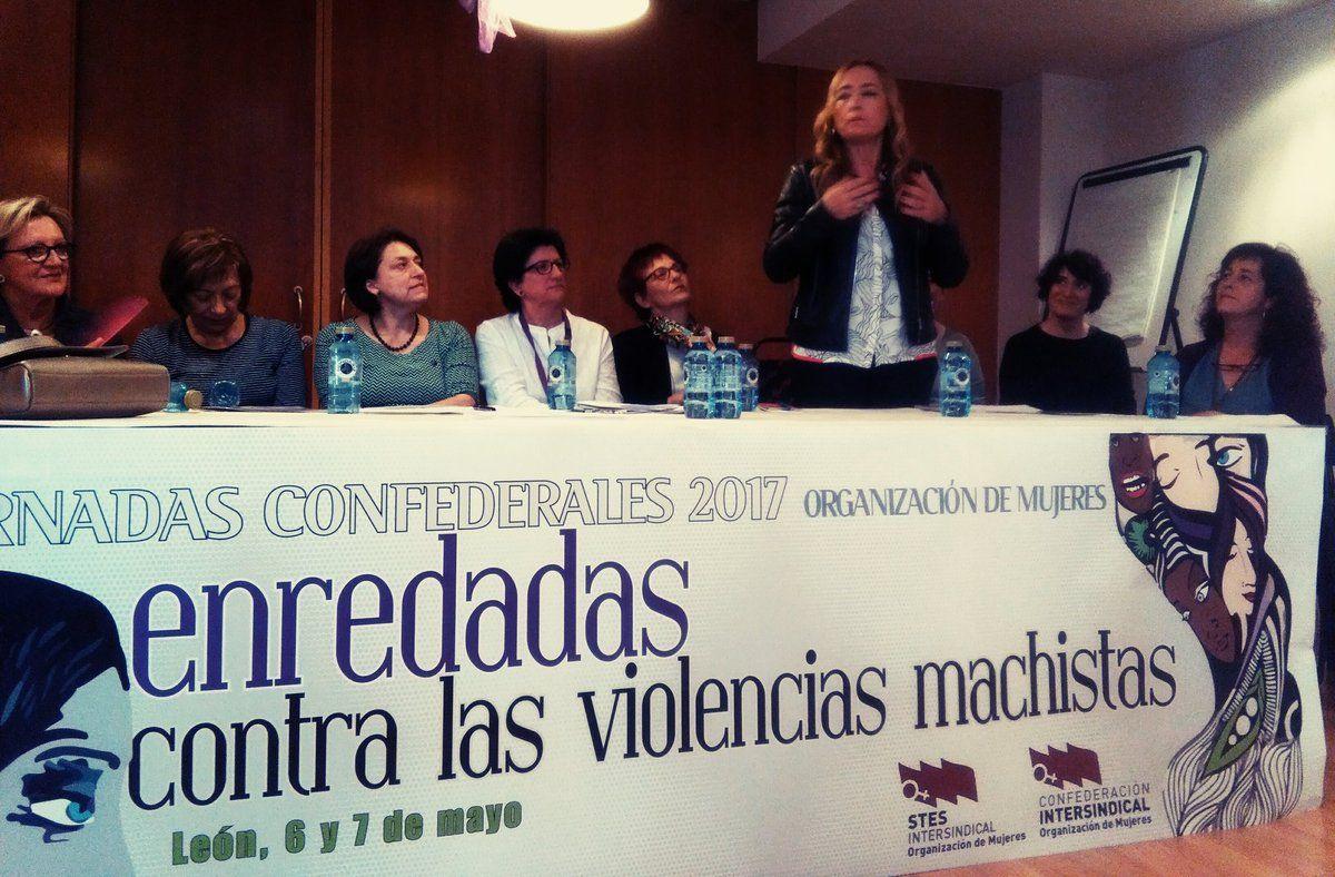 Isabel González López primera responsable Intersindical y con Begoña Suárez como Presidenta del Comité de Igualdad en la IE #OMenredadas