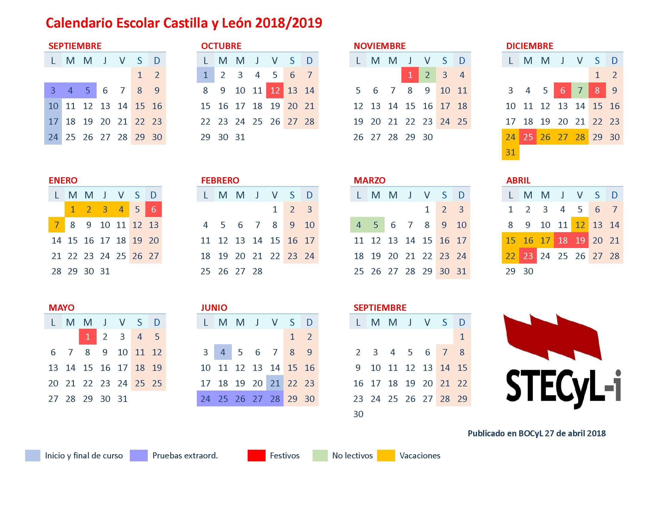 Calendario 2019 Castilla Y Leon.Calendario Escolar 2018 19 Centros Docentes Ensenanzas No