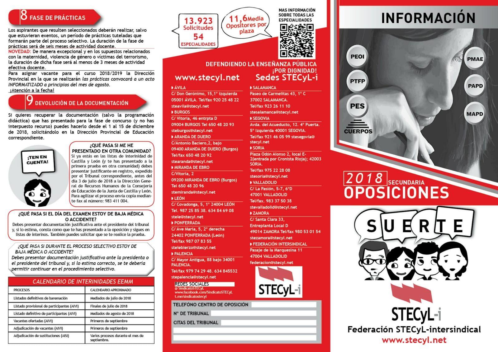 FOLLETO OPOSICIONES 2018