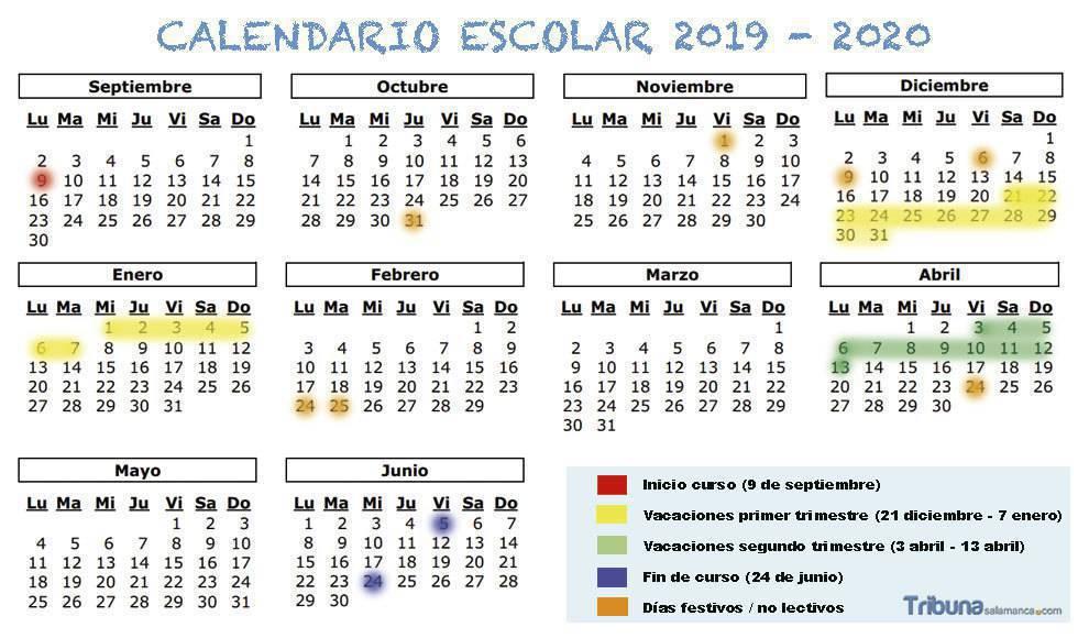 Calendario Diciembre 2020 Para Imprimir.Borrador De Calendario Escolar De 2019 2020 Para Castilla Y Leon