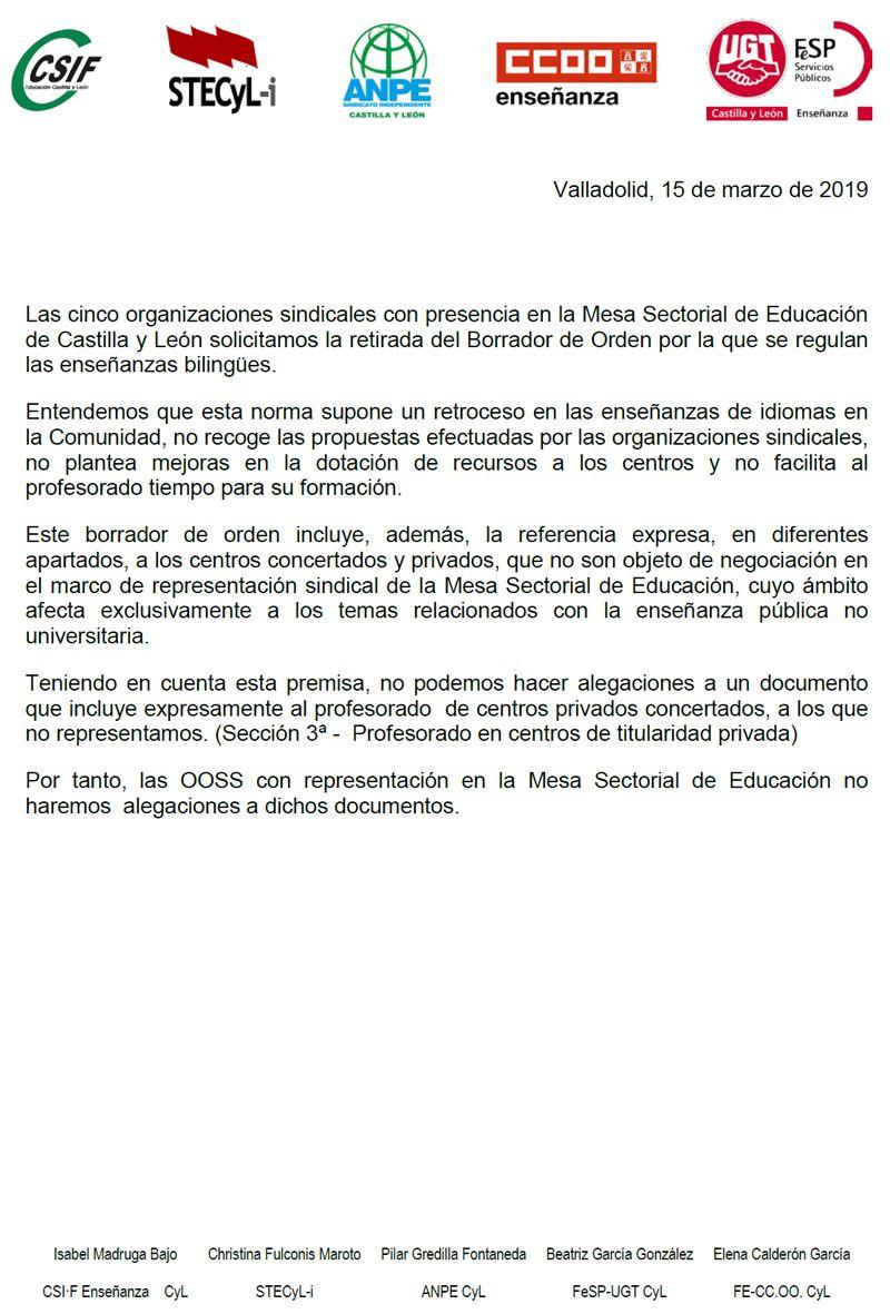 Comunicado-OOSS-Orden-Bilinguismo-Marzo2019
