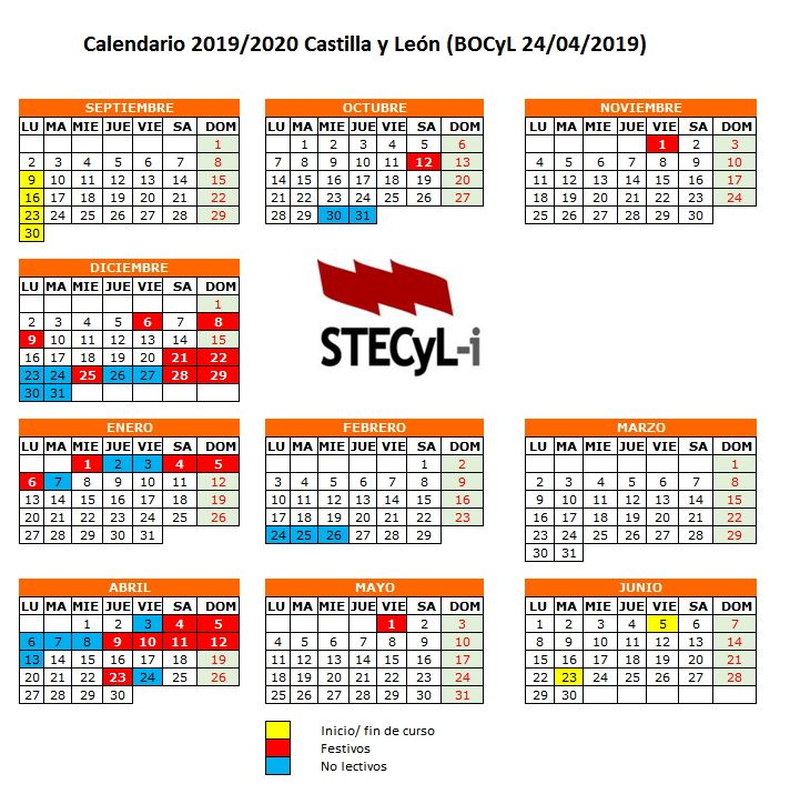 Calendario 2019 Escolar 2020 Madrid.Calendario Escolar Curso 2019 2020 Stecyl I