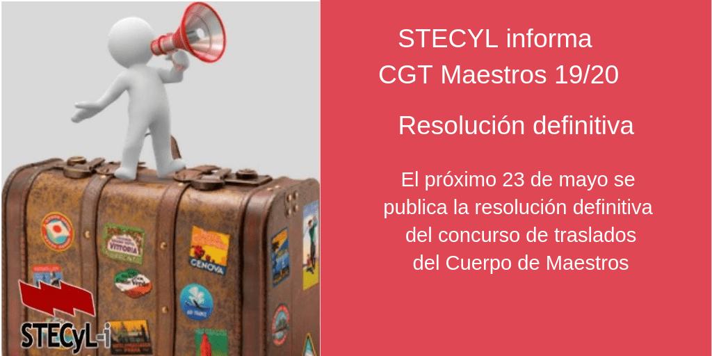 Fecha publicación CGT Cuerpo de Maestros