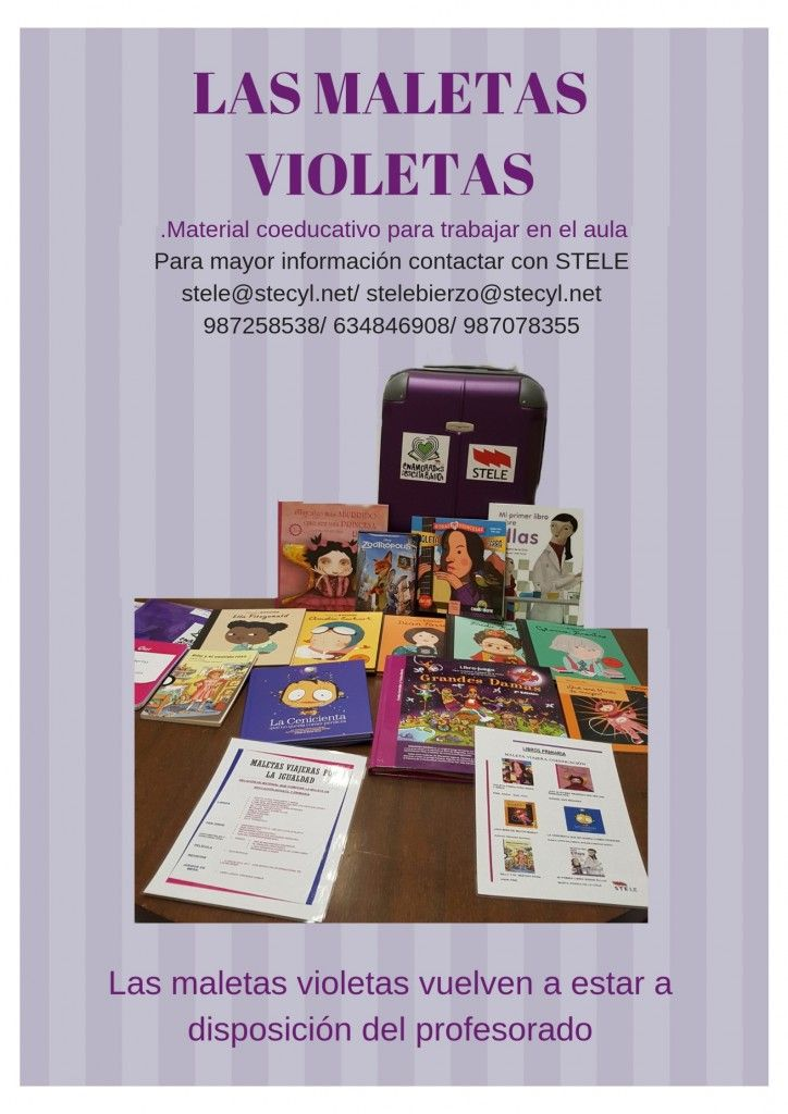 Cartel maletas violetas Infantil y Primaria