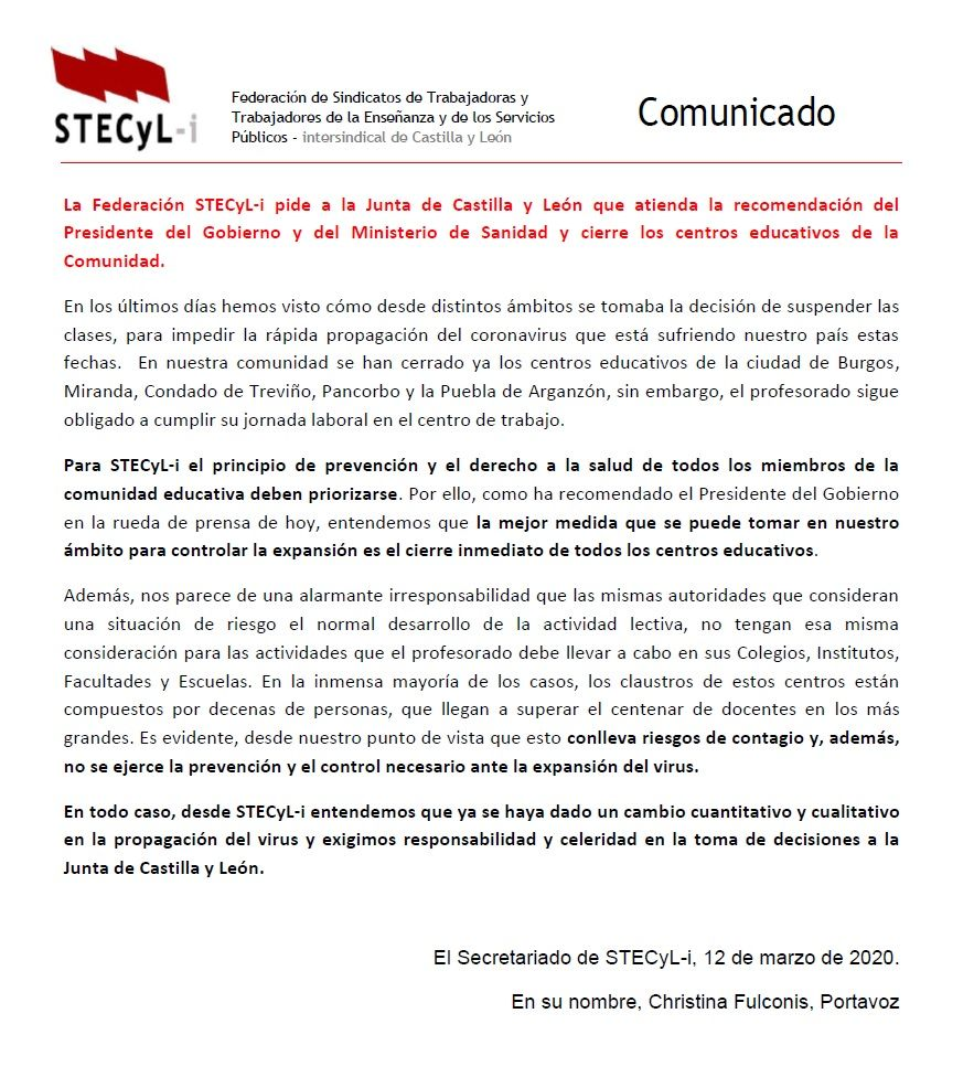 Comunicado-Coronavirus-STECyL-12-03-2020