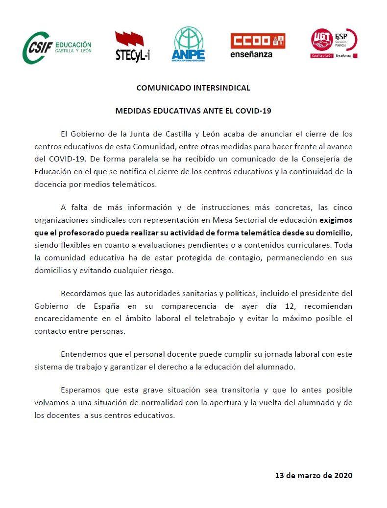 Comunicado-Coronavirus-STECyL-13-03-2020