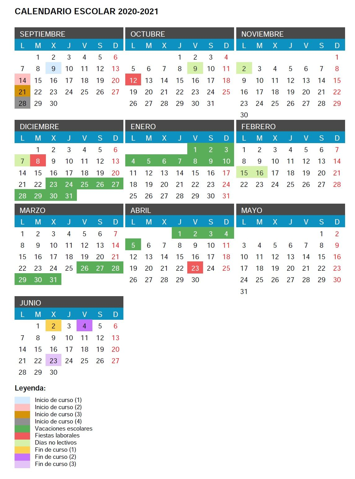 Calendario Escolar Curso 2020 2021 Stecyl I