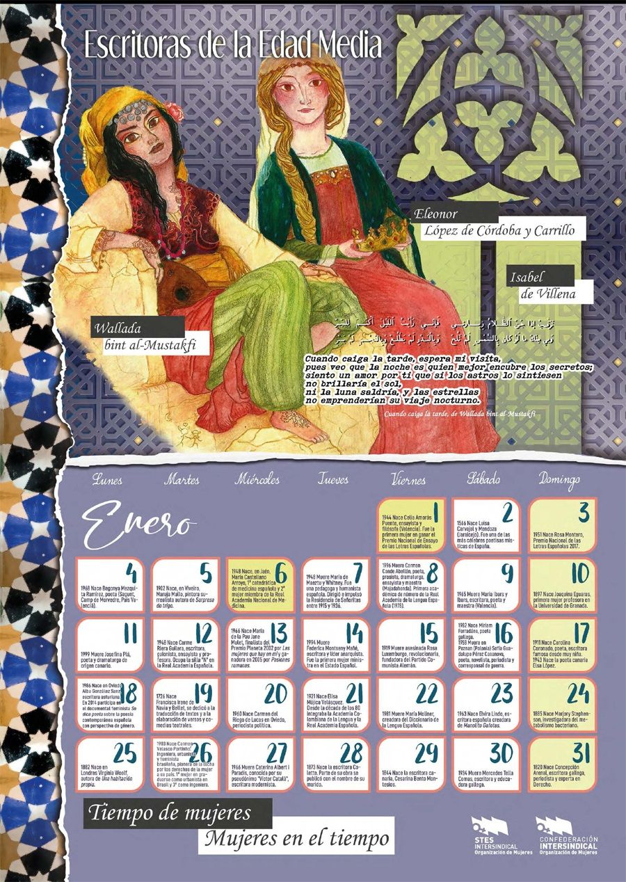 Calendario Mujeres en el Tiempo 2021. Enero
