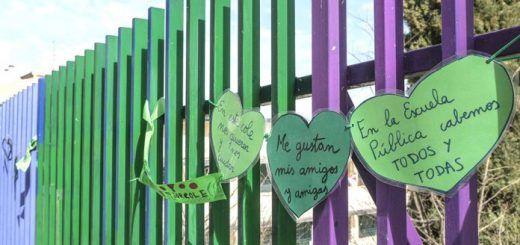 La campaña 'Corazones verdes' llega a los colegios de Segovia en defensa del sistema público de educación. / KAMARERO