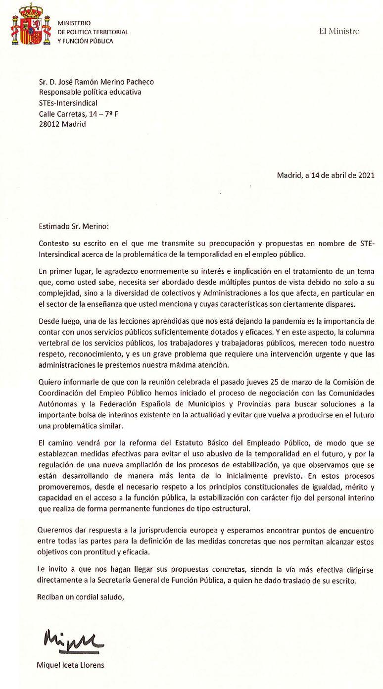 respuesta_ministro_Iceta_denuncia_STEs_abuso_temporalidad