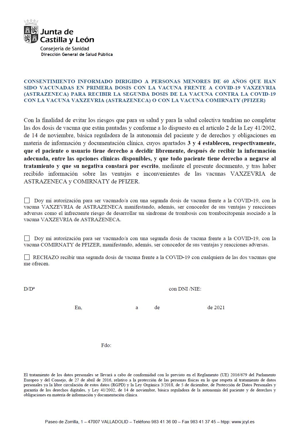 CONSENTIMIENTO INFORMADO CyL VACUNA 2ª DOSIS