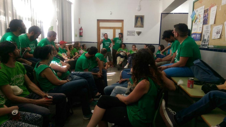 Encierro en el Instituto Provincial de Educación a Distancia de Sevilla (IPEP). Foto: USTEA.